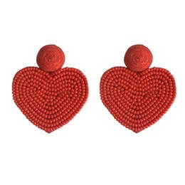 Beaded Heart Stud Earrings: Red