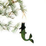 Black Cat Mermaid Ornament