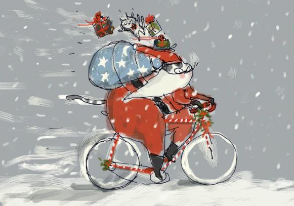 Santa Cat on Bicycle Holiday Boxed Cards