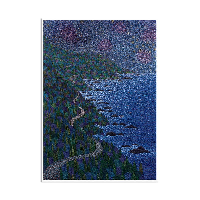 Night Symphony Coast, Trees, & Stars Sympathy Card