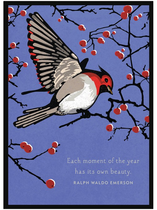 Bird and Berries Emerson Quote Holiday Boxed Cards