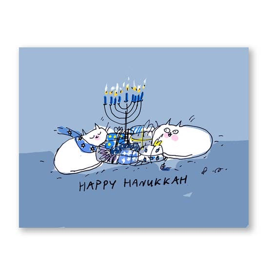 Happy Hanukkah Cat Card
