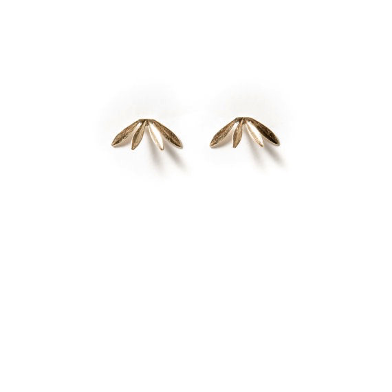 Brass Laurel Stud Earrings