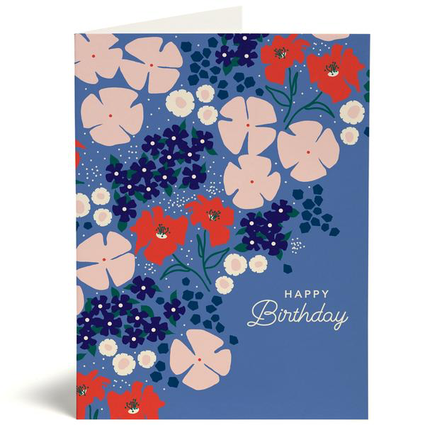 Prarie Floral Happy Birthday Card