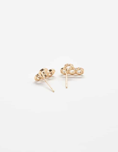 Admiral Row - Gold Honeycomb Stud Earrings, Gold Plated, Hypoallergenic.