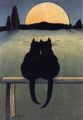 Cats in the Moonlight Card