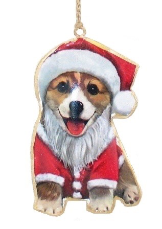 Corgi in Santa Suit Ornament