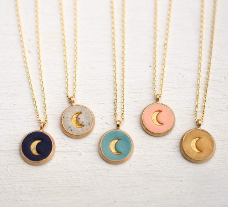 Dainty Moon Necklace - Navy Blue