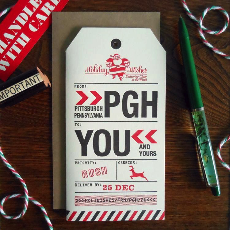 Pittsburgh Holiday Luggage Tag Boxed Cards