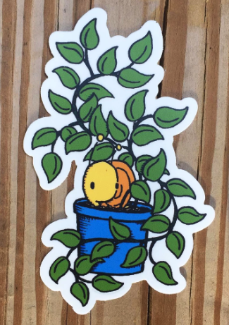 Snail and Plant Sticker