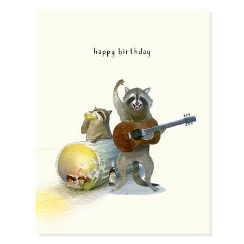 Raccoon Garage Band Birthday Card