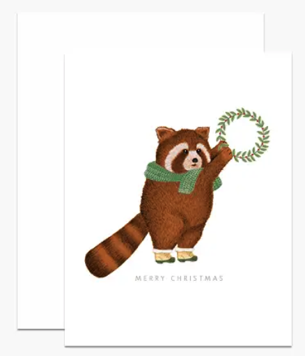Red Panda With Wreath Boxed Cards