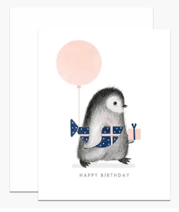 Penguin with Wrapped Fish Birthday Card