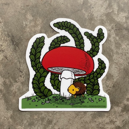 Hedgehog and Mushroom Vinyl Sticker