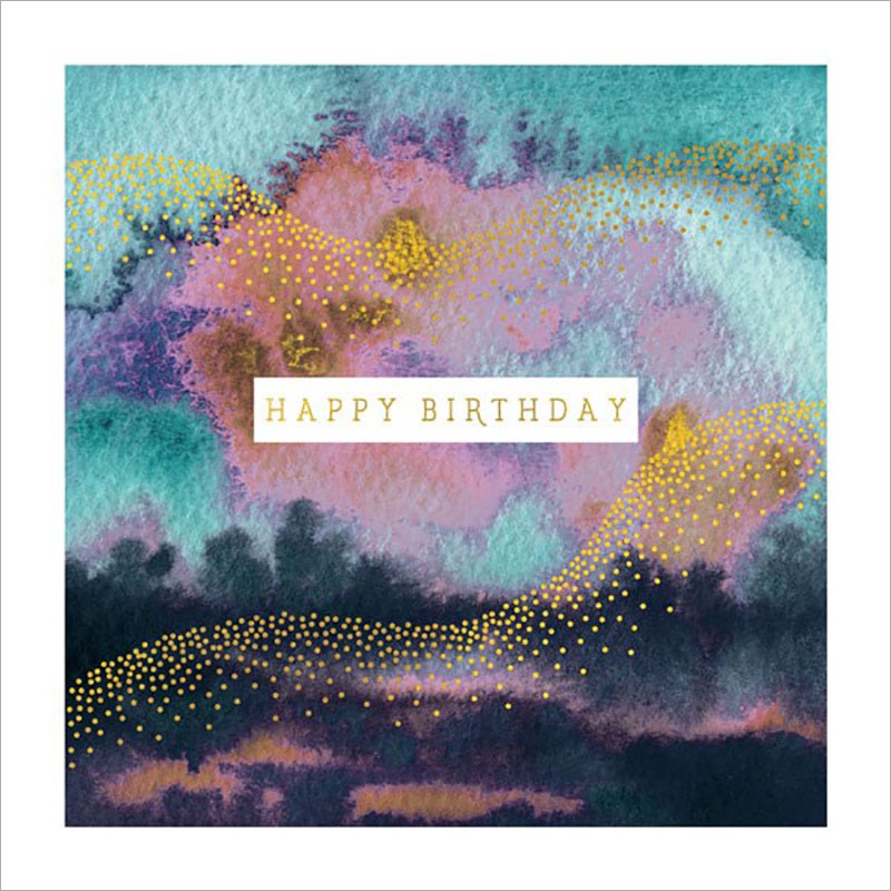 Gold Waves - Birthday Card