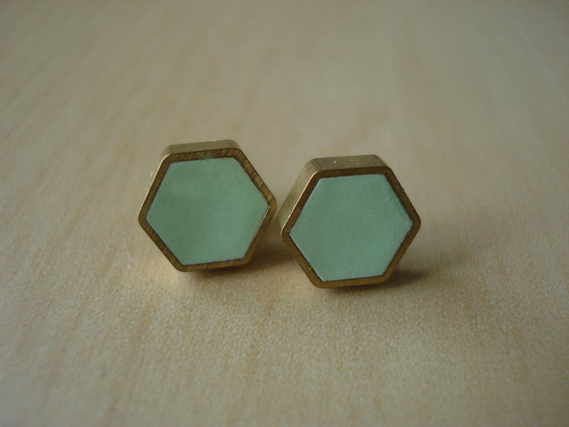 Brass Hexagon Stud Earrings: Mint
