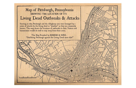 Pittsburgh Map of Zombie Outbreaks