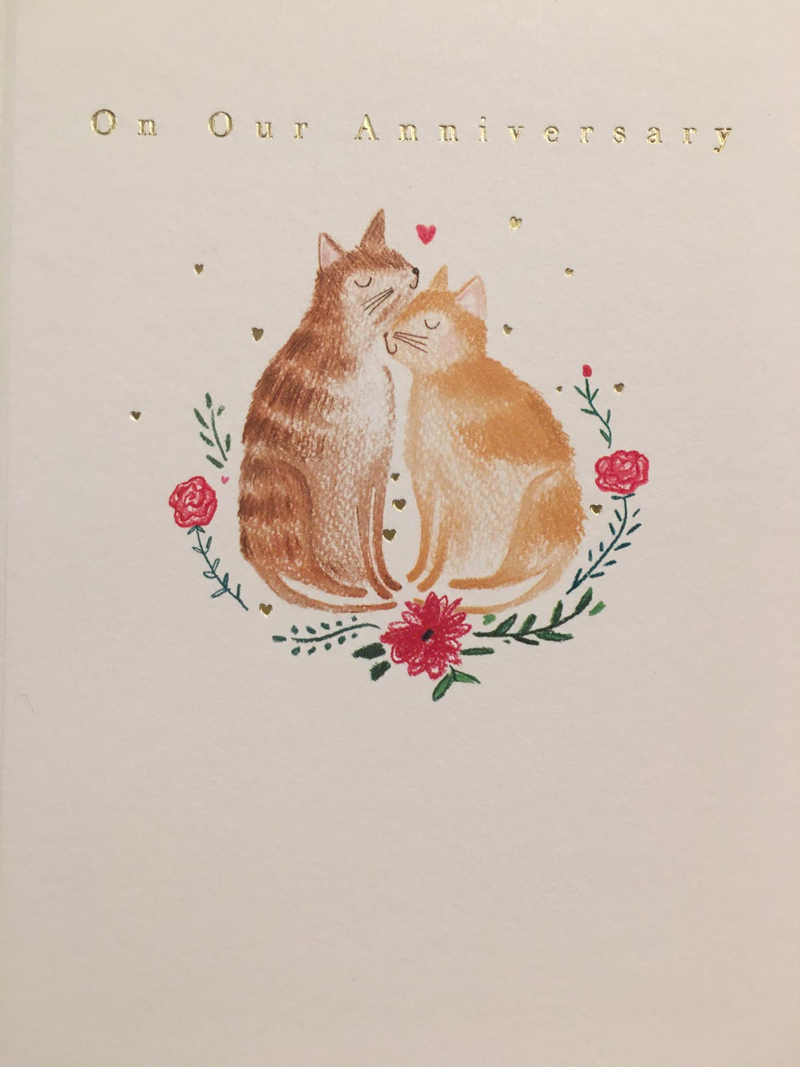 On Our Anniversary Cats Card