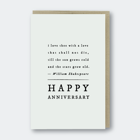 Shakespeare Quote Anniversary Card