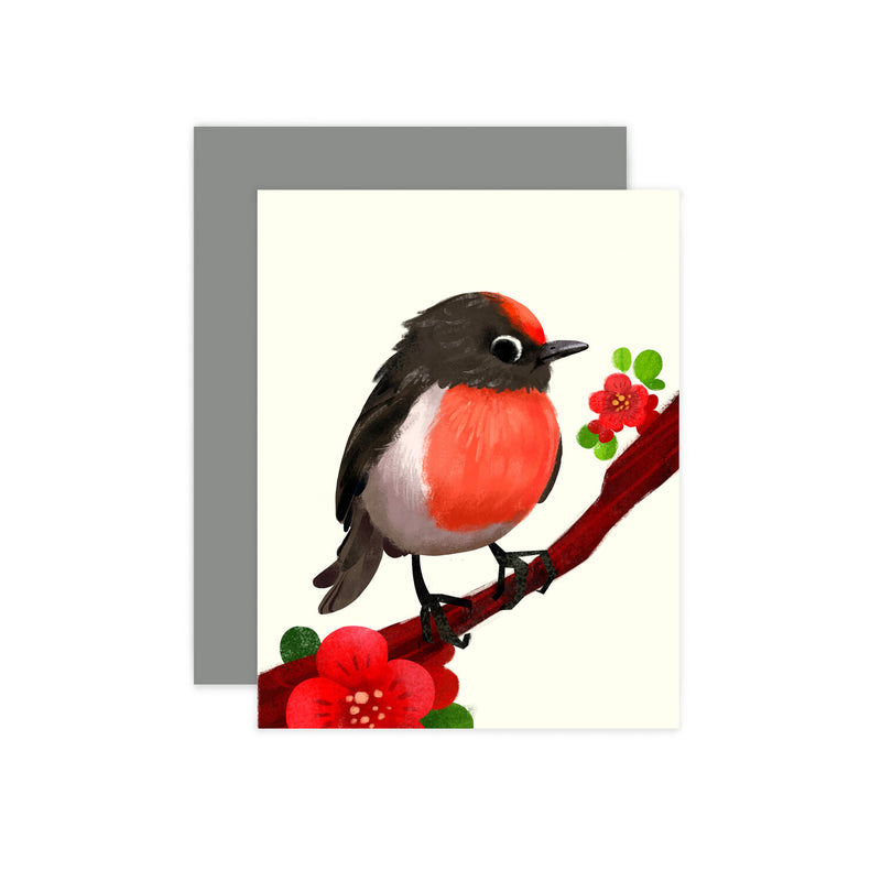 Red Capped Robin Card