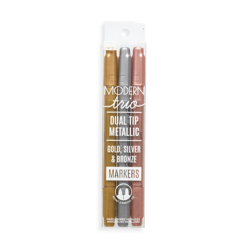 Set of 3 - Modern Metallic Dual Tip Markers