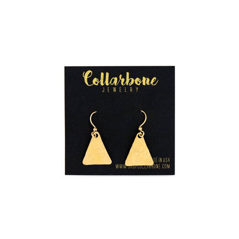 Collarbone Jewelry - Mini Brass Equilateral Triangle Earrings