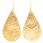 Giant Hammered Brass Teardrop Earrings