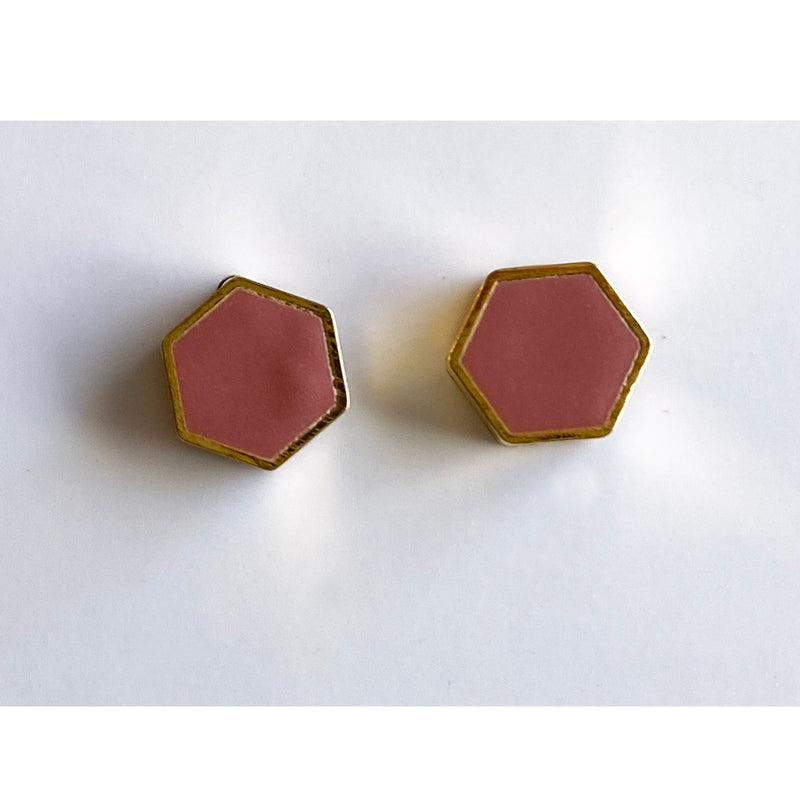 Brass Hexagon Stud Earrings: Blush