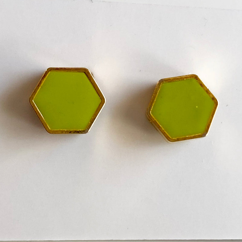 Brass Hexagon Studs: Wasabi