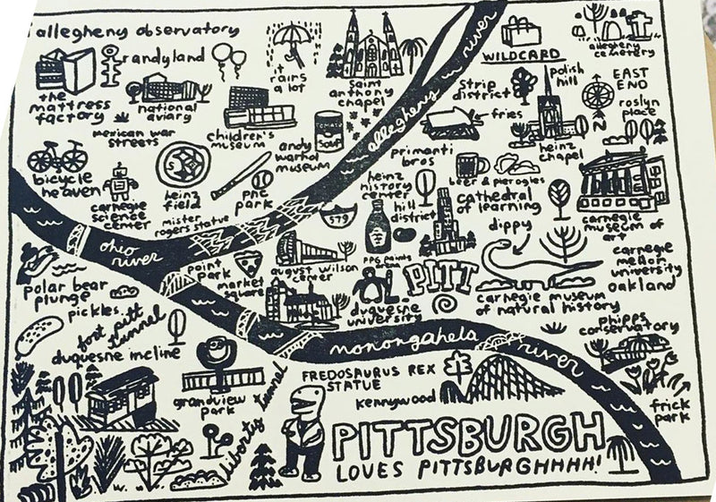 Pittsburgh Map Postcard