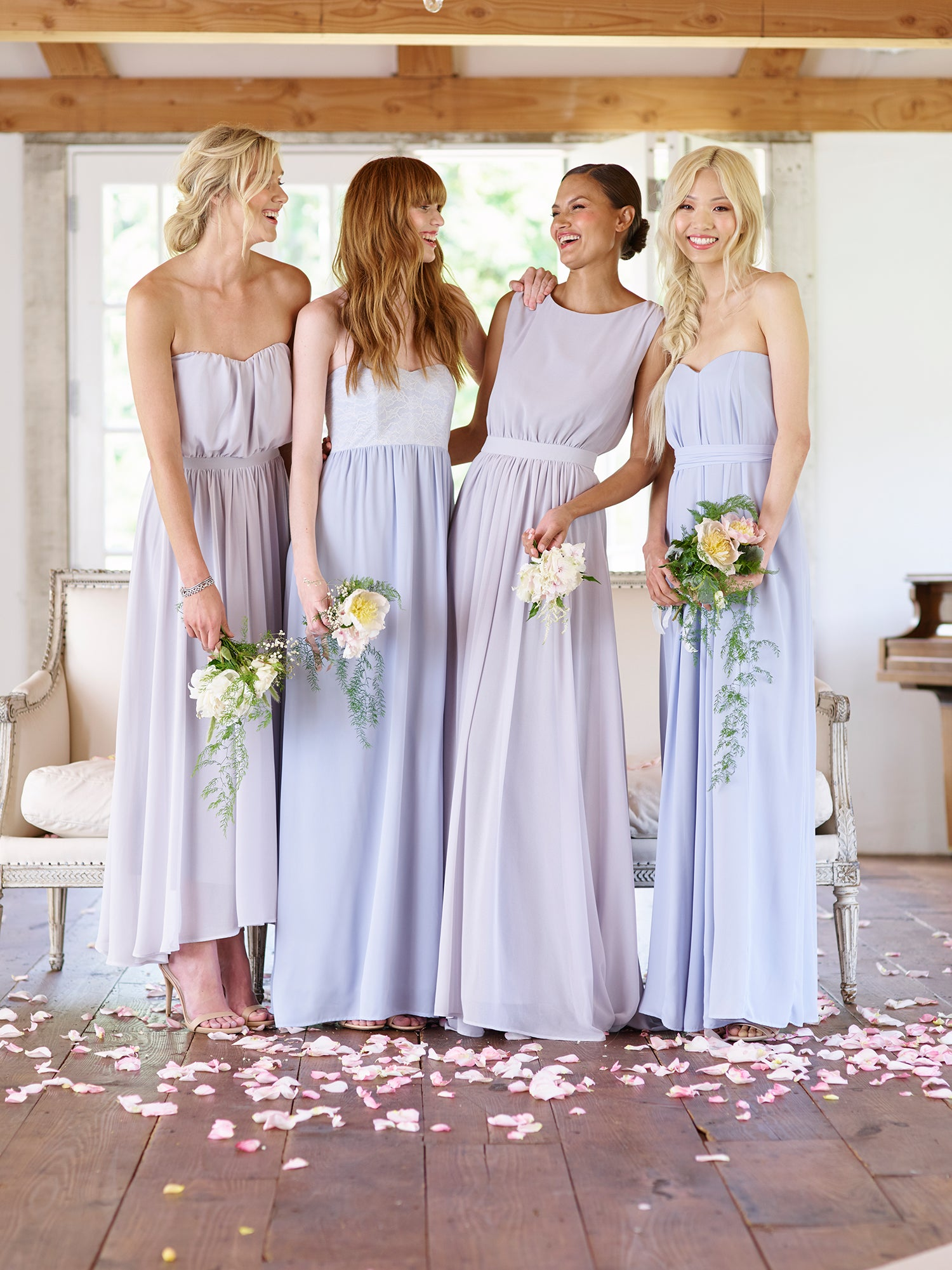 Squad goals perfecting the mismatched bridal party paper crown cream dresses can add a touch of sophistication to your wedding day for some extra glam we now offers vintage gold shimmer accents to select cream ombrellifo Gallery