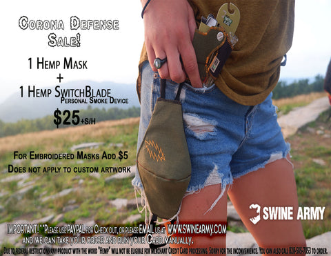 Corona Defense Sale! Hemp Mask + Switchblade!