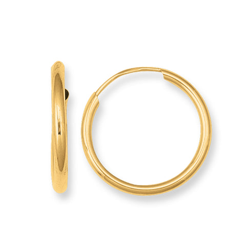 10k Yellow Gold Shiny Endless Round Hoop Earrings
