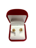 10k Yellow Gold Shiny And Textured Triple Row Love Knot Stud Earrings, 10mm - JewelryAffairs  - 4