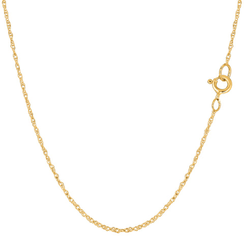 14k Yellow Gold  Rope Chain Necklace, 0.9mm