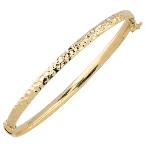 10k Yellow Gold Hammered Women's Bangle Bracelet, 7.5""