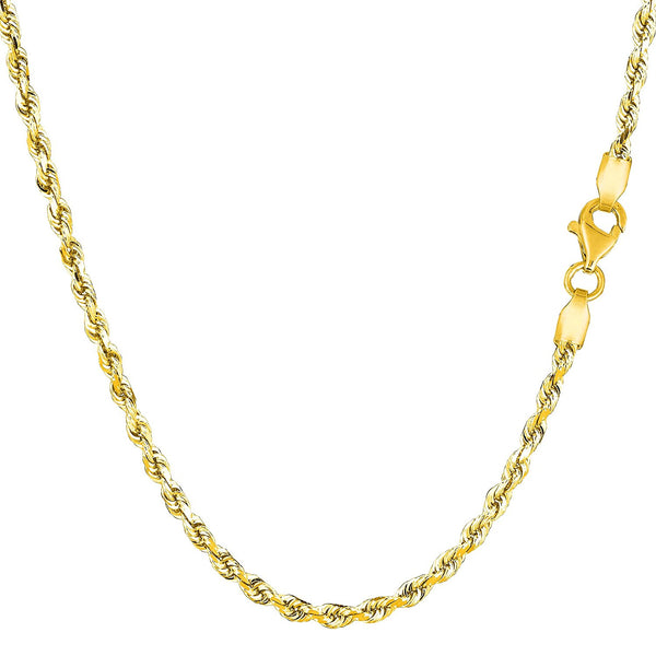 "10K Yellow Gold Hollow Rope Chain Necklace - Width 2.9mm - Length 20"" - JewelryAffairs  - 1"