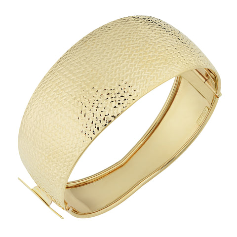 10k Yellow Gold Hinged Women's Cuff Bangle Bracelet, 7.5""
