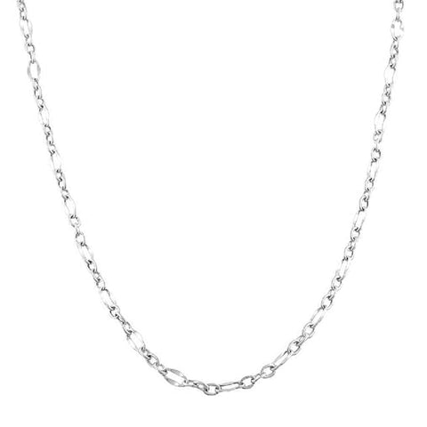 10K White Gold Flat Oval Figaro Chain Necklace,2.0mm, 18""