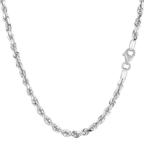 10K White Gold Hollow Rope Chain Necklace, 2mm, 24""