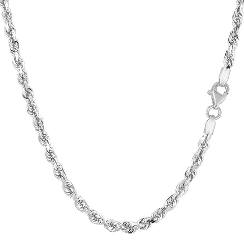 10K White Gold Hollow Rope Chain Necklace, 3mm, 20""