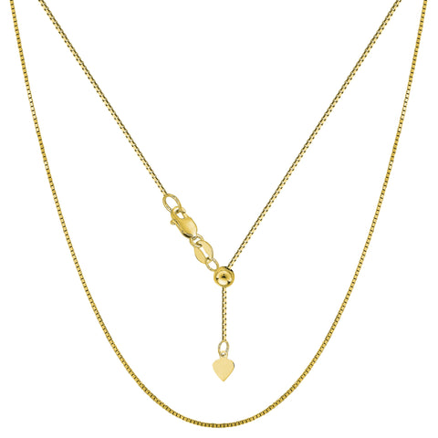 10k Yellow Gold Adjustable Box Link Chain Necklace, 0.7mm, 22""