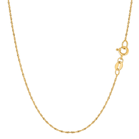 14k Yellow Gold Singapore Chain Bracelet, 1mm, 7""