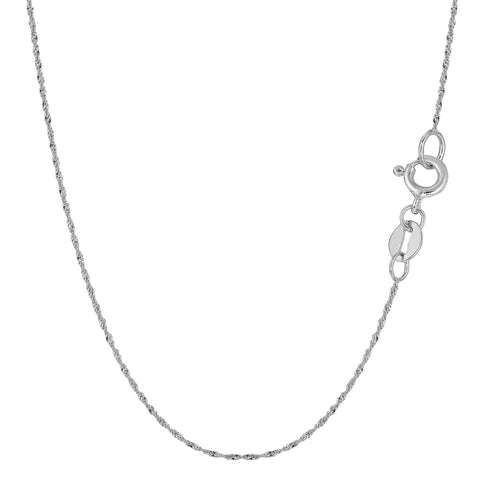 10k White Gold Singapore Chain Necklace, 0.8mm - JewelryAffairs  - 1