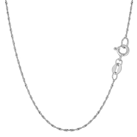 10k White Gold Singapore Chain Necklace, 1.0mm