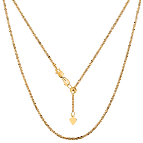10k Yellow Gold Adjustable Sparkle Link Chain Necklace, 1.5mm, 22""