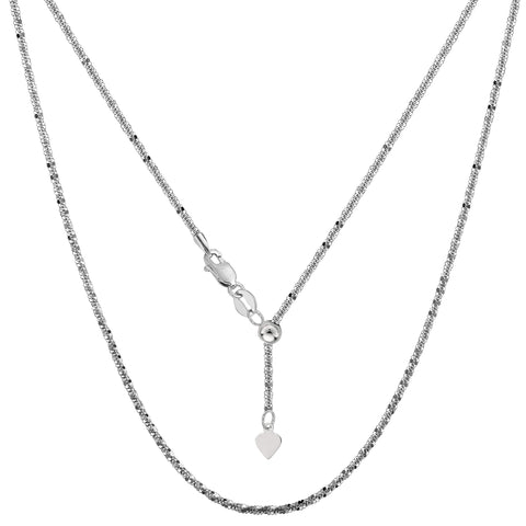 10k White Gold Adjustable Sparkle Link Chain Necklace, 1.5mm, 22""