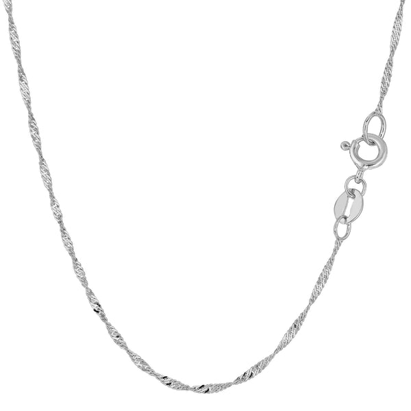 10k White Gold Singapore Chain Necklace, 1.5mm