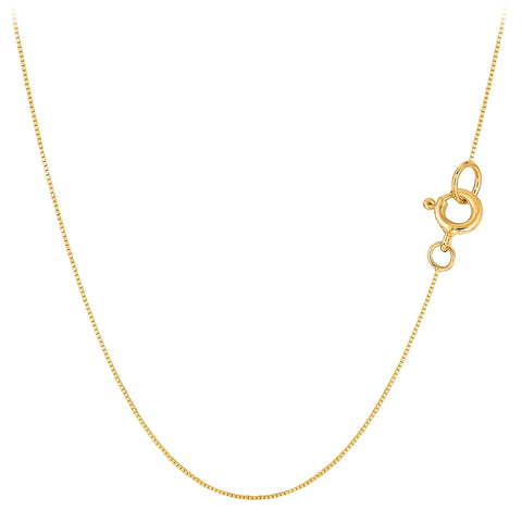 10k Yellow Solid Gold Mirror Box Chain Necklace, 0.45mm