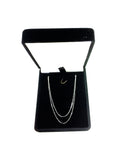 10k White Solid Gold Mirror Box Chain Necklace, 0.45mm